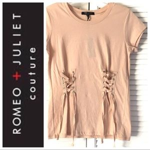 w/TAGs Romeo & Juliet Ties Detail Tshirt TEE TOP